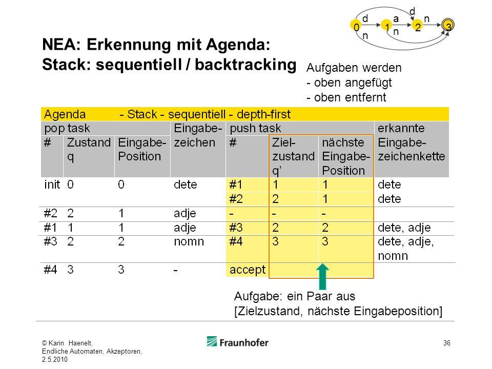 NEA: Erkennung mit Agenda: Stack: sequentiell / backtracking 36 Aufgabe: ein Paar aus [Zielzustand, nächste Eingabeposition] Aufgaben werden - oben an