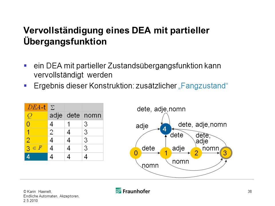 Vervollständigung eines DEA mit partieller Übergangsfunktion ein DEA mit partieller Zustandsübergangsfunktion kann vervollständigt werden Ergebnis die
