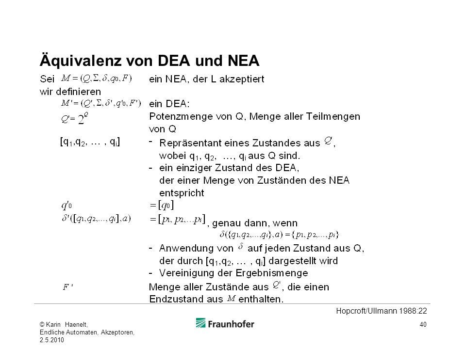 Äquivalenz von DEA und NEA 40 Hopcroft/Ullmann 1988:22 © Karin Haenelt, Endliche Automaten, Akzeptoren, 2.5.2010