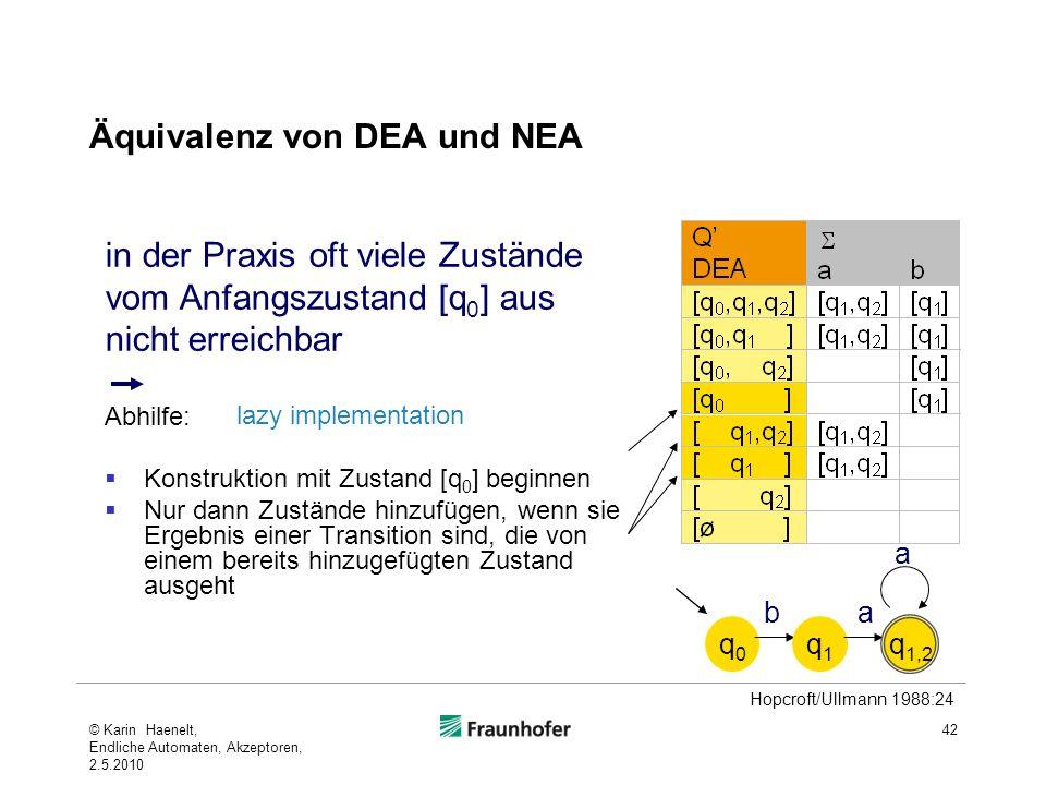 Äquivalenz von DEA und NEA 42 Abhilfe: Konstruktion mit Zustand [q 0 ] beginnen Nur dann Zustände hinzufügen, wenn sie Ergebnis einer Transition sind,