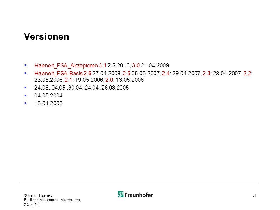 Versionen Haenelt_FSA_Akzeptoren 3.1 2.5.2010, 3.0 21.04.2009 Haenelt_FSA-Basis 2.6 27.04.2008, 2.5 05.05.2007, 2.4: 29.04.2007, 2.3: 28.04.2007, 2.2: