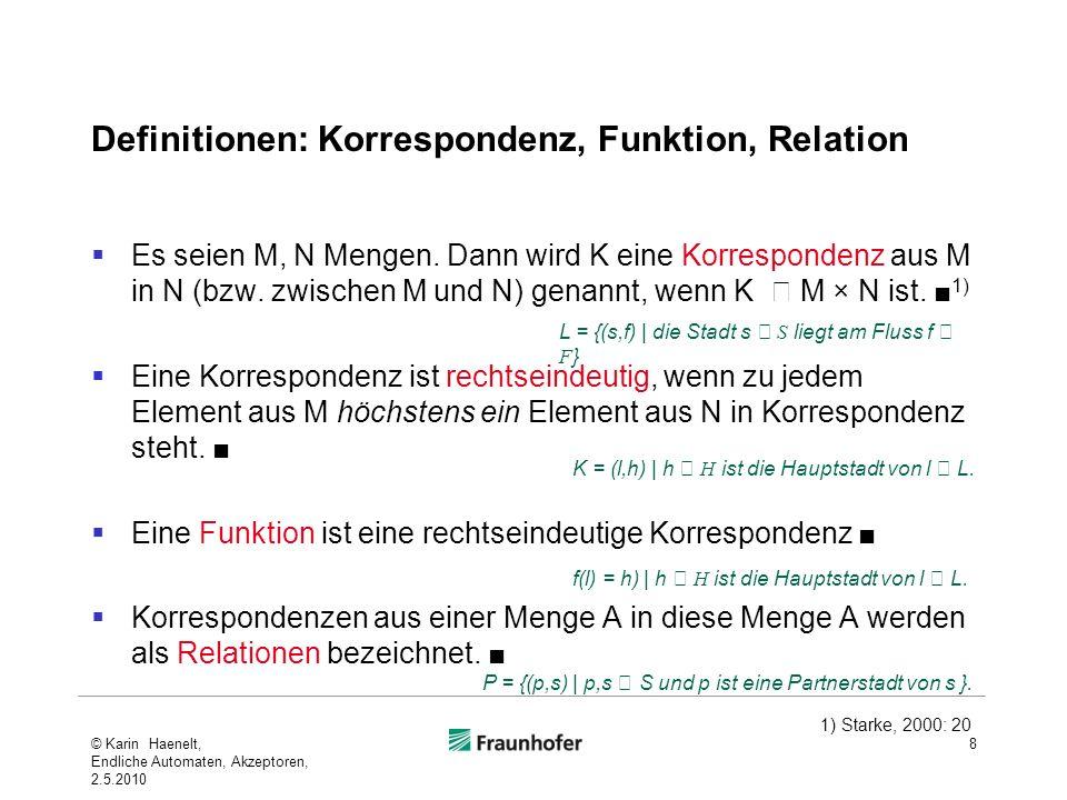 Definitionen: Korrespondenz, Funktion, Relation Es seien M, N Mengen. Dann wird K eine Korrespondenz aus M in N (bzw. zwischen M und N) genannt, wenn
