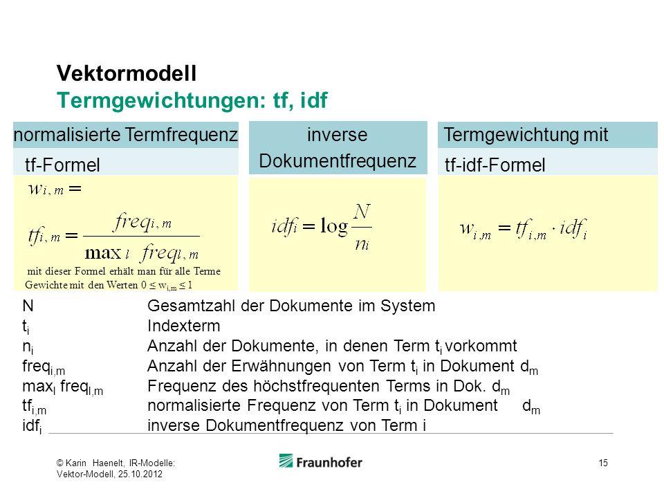 inverse Dokumentfrequenz Vektormodell Termgewichtungen: tf, idf 15 N Gesamtzahl der Dokumente im System t i Indexterm n i Anzahl der Dokumente, in den