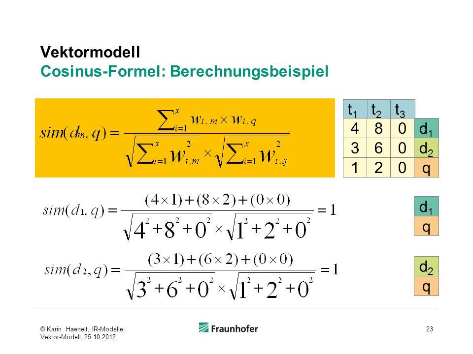 Vektormodell Cosinus-Formel: Berechnungsbeispiel 23 t2t2 t3t3 4 3 1 8 6 2 0 0 0 d1d1 d2d2 q t1t1 d1d1 q d2d2 q © Karin Haenelt, IR-Modelle: Vektor-Mod