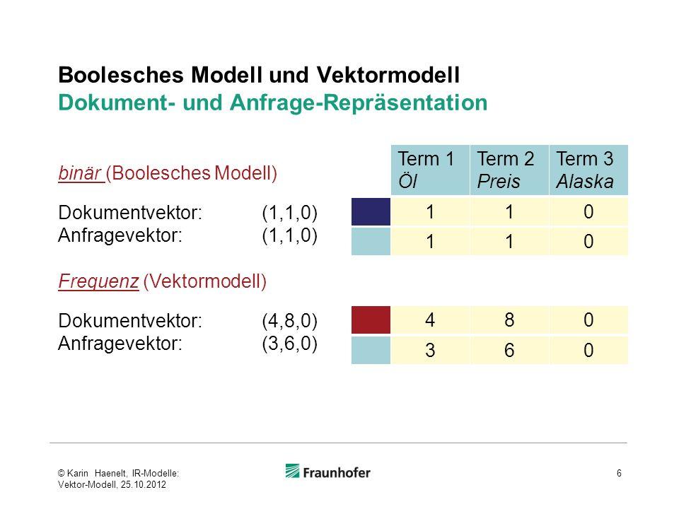 Boolesches Modell und Vektormodell Dokument- und Anfrage-Repräsentation 6 Dokumentvektor:(1,1,0) Anfragevektor:(1,1,0) Term 1 Öl Term 2 Preis Term 3 A