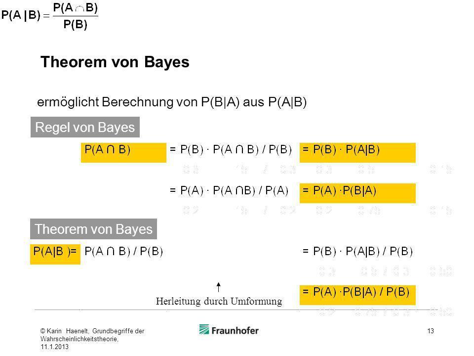 Theorem von Bayes 13 ermöglicht Berechnung von P(B A) aus P(A B) Regel von Bayes Theorem von Bayes Herleitung durch Umformung © Karin Haenelt, Grundbe