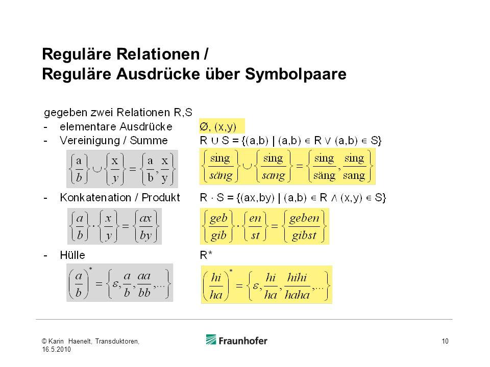 Reguläre Relationen / Reguläre Ausdrücke über Symbolpaare © Karin Haenelt, Transduktoren, 16.5.2010 10