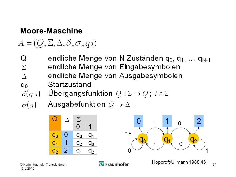 Moore-Maschine 27 q0q0 q1q1 q2q2 012 Hopcroft/Ullmann 1988:43 1 1 1 0 0 0 © Karin Haenelt, Transduktoren, 16.5.2010