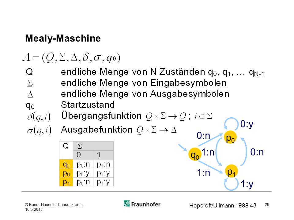 Mealy-Maschine 28 Hopcroft/Ullmann 1988:43 q0q0 p1p1 p0p0 1:n 0:n 0:y 1:y 0:n 1:n © Karin Haenelt, Transduktoren, 16.5.2010