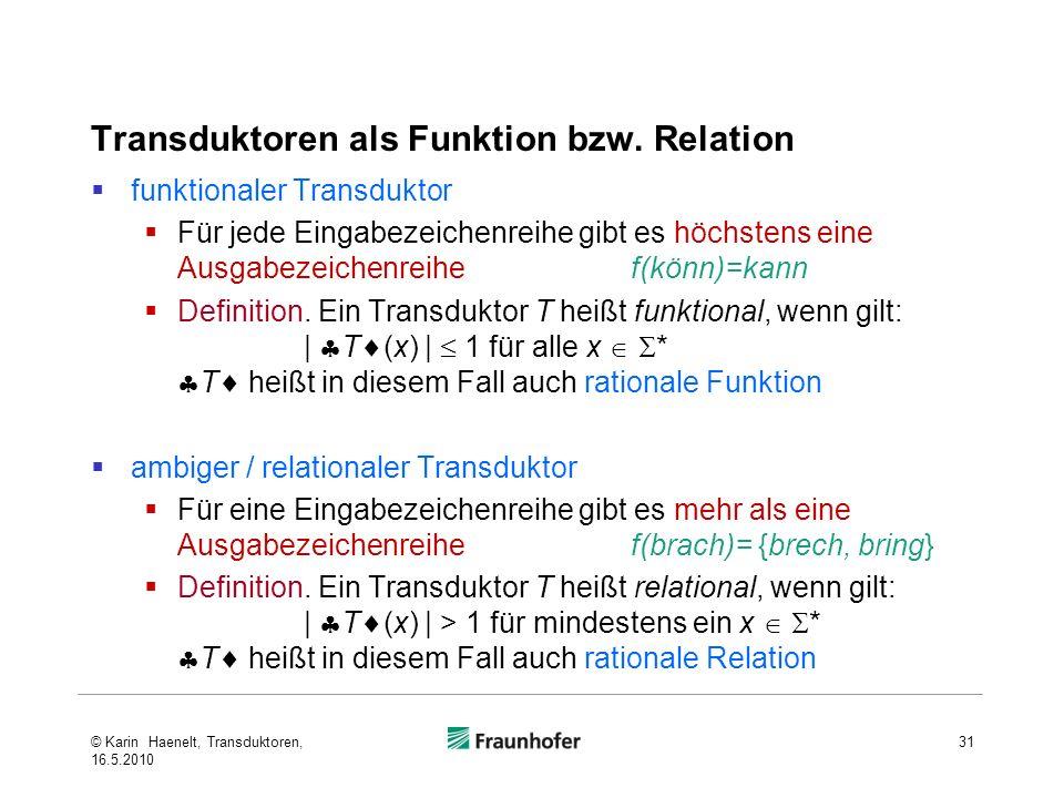 Transduktoren als Funktion bzw. Relation funktionaler Transduktor Für jede Eingabezeichenreihe gibt es höchstens eine Ausgabezeichenreihe f(könn)=kann