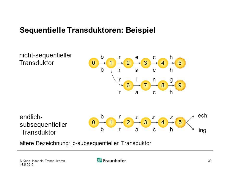 Sequentielle Transduktoren: Beispiel 39 01 b b 234 5 ehrc ahrc 678 9 igrn ahrc nicht-sequentieller Transduktor ältere Bezeichnung: p-subsequentieller