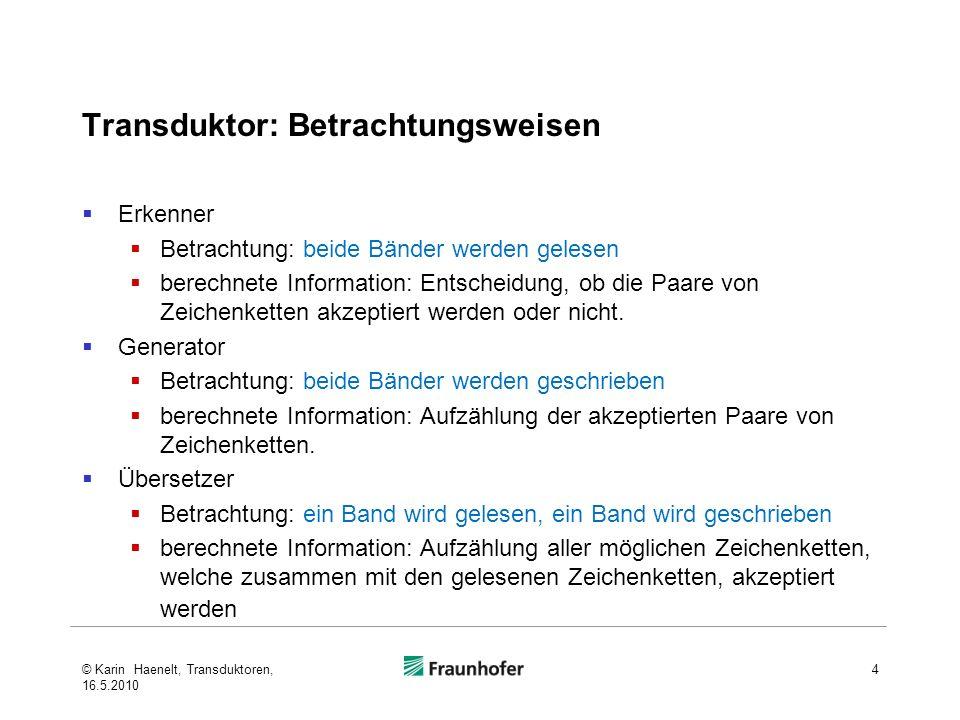 Transduktor: Betrachtungsweisen Erkenner Betrachtung: beide Bänder werden gelesen berechnete Information: Entscheidung, ob die Paare von Zeichenketten