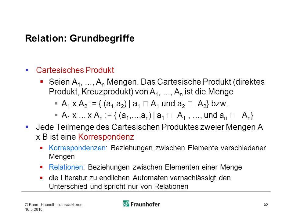 Relation: Grundbegriffe Cartesisches Produkt Seien A 1,..., A n Mengen. Das Cartesische Produkt (direktes Produkt, Kreuzprodukt) von A 1,..., A n ist