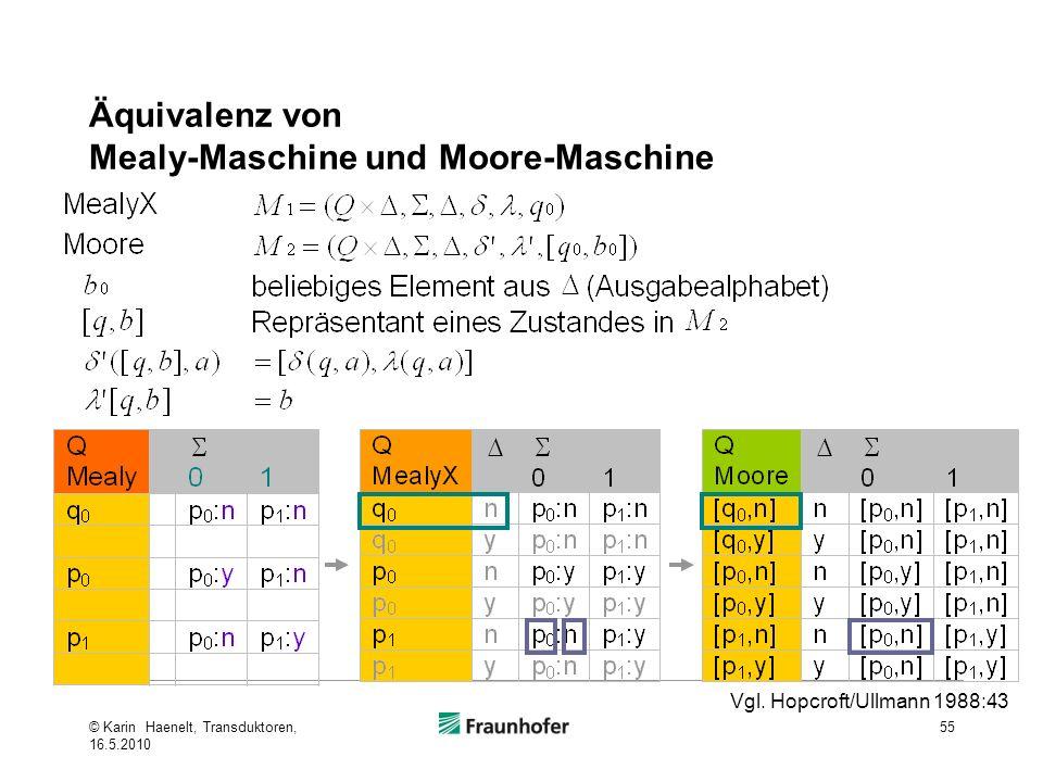 Äquivalenz von Mealy-Maschine und Moore-Maschine 55 Vgl. Hopcroft/Ullmann 1988:43 © Karin Haenelt, Transduktoren, 16.5.2010