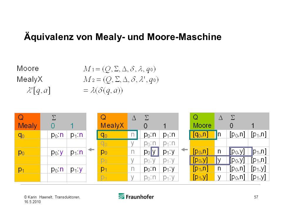 Äquivalenz von Mealy- und Moore-Maschine 57© Karin Haenelt, Transduktoren, 16.5.2010