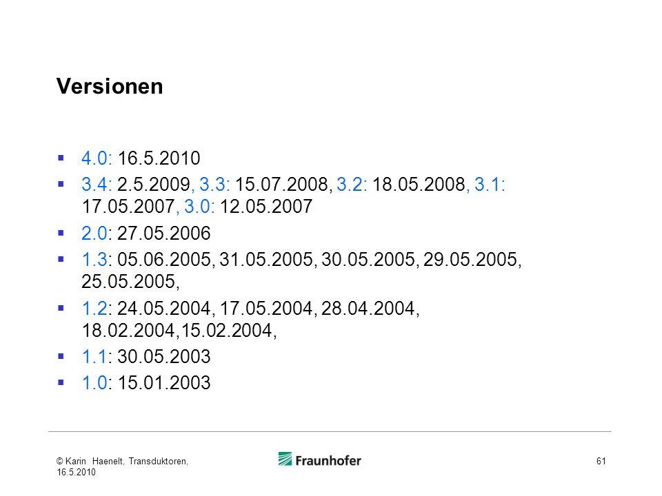 Versionen 4.0: 16.5.2010 3.4: 2.5.2009, 3.3: 15.07.2008, 3.2: 18.05.2008, 3.1: 17.05.2007, 3.0: 12.05.2007 2.0: 27.05.2006 1.3: 05.06.2005, 31.05.2005, 30.05.2005, 29.05.2005, 25.05.2005, 1.2: 24.05.2004, 17.05.2004, 28.04.2004, 18.02.2004,15.02.2004, 1.1: 30.05.2003 1.0: 15.01.2003 61© Karin Haenelt, Transduktoren, 16.5.2010