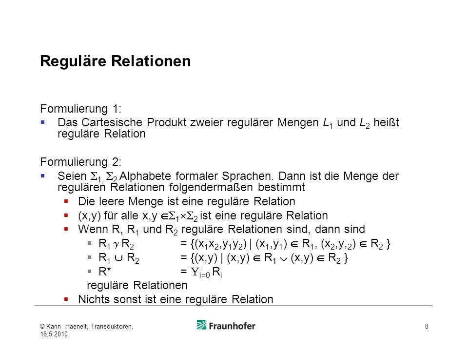 Reguläre Relationen Beispiele gemäß Formulierung 1:Cartesisches Produkt zweier regulärer Mengen (gab·st) : (geb·en) gemäß Formulierung 2:reguläre Relation (gab:geb) · (st:en) © Karin Haenelt, Transduktoren, 16.5.2010 9