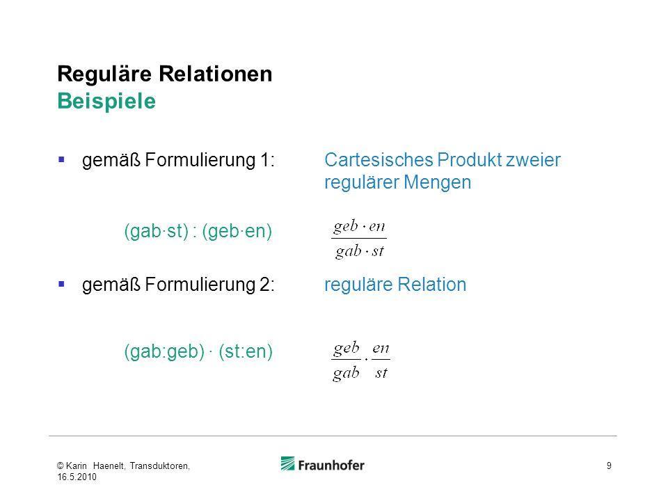 Sprache eines Transduktors Die Sprache L(T) eines Transduktors T = (Q, q 0, F, Σ, Δ, δ, σ) ist die reguläre Relation {(u,v) (Σ*, Δ*)   q f F, so dass gilt: q f δ *(q 0,u) und σ*(q 0,u) = v } δ * ist die bekannte Erweiterung von δ auf Zeichenreihen über Σ σ* ist die entsprechend erweiterte Ausgabefunktion 20 vgl.