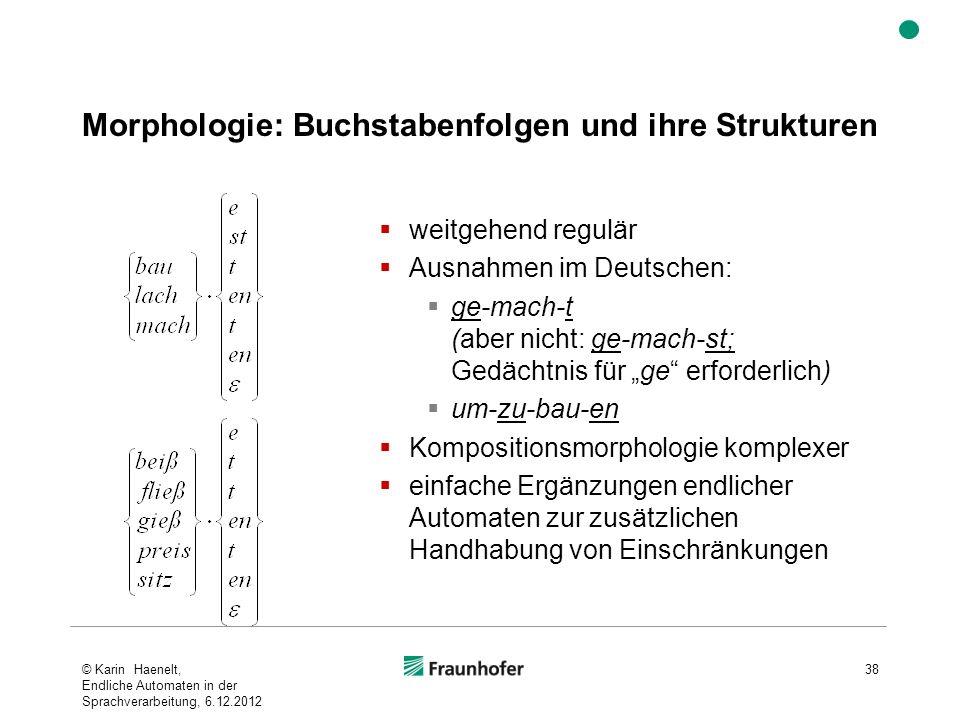 Morphologie: Buchstabenfolgen und ihre Strukturen © Karin Haenelt, Endliche Automaten in der Sprachverarbeitung, 6.12.2012 38 weitgehend regulär Ausna