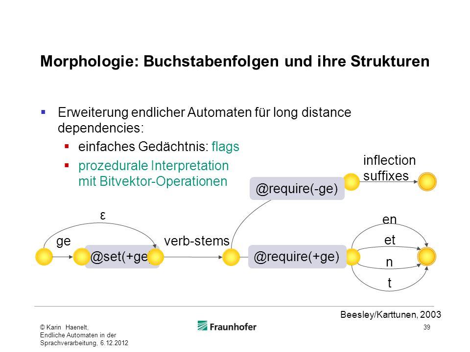 Morphologie: Buchstabenfolgen und ihre Strukturen Erweiterung endlicher Automaten für long distance dependencies: einfaches Gedächtnis: flags prozedur