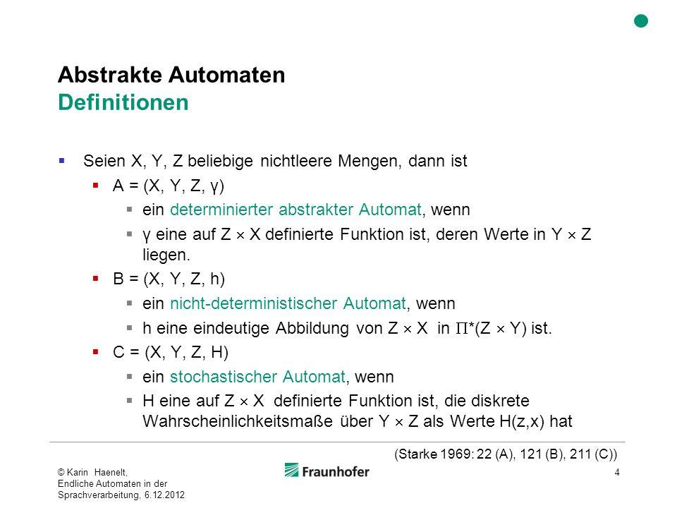 Abstrakte Automaten Definitionen Seien X, Y, Z beliebige nichtleere Mengen, dann ist A = (X, Y, Z, γ) ein determinierter abstrakter Automat, wenn γ eine auf Z X definierte Funktion ist, deren Werte in Y Z liegen.