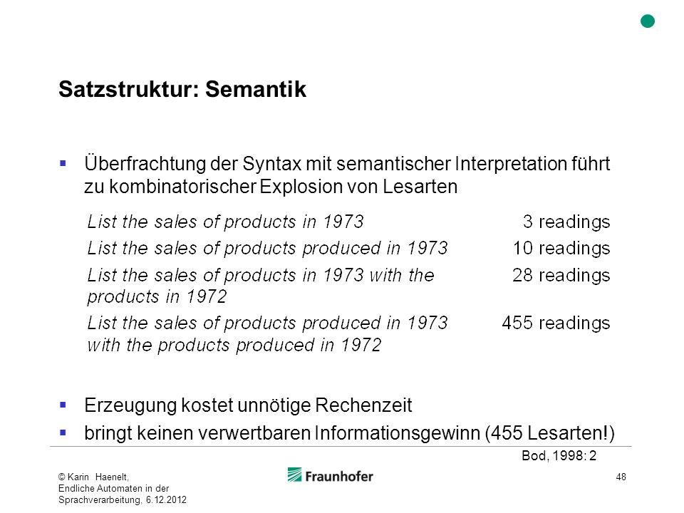 Satzstruktur: Semantik Überfrachtung der Syntax mit semantischer Interpretation führt zu kombinatorischer Explosion von Lesarten Erzeugung kostet unnö
