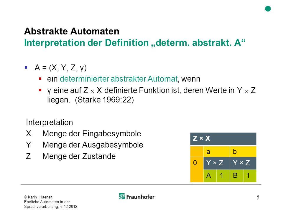 Abstrakte Automaten Interpretation der Definition determ. abstrakt. A A = (X, Y, Z, γ) ein determinierter abstrakter Automat, wenn γ eine auf Z X defi