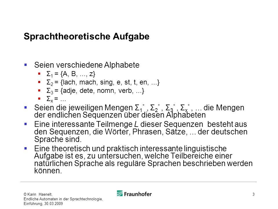 Sprachtheoretische Aufgabe Seien verschiedene Alphabete Σ 1 = {A, B,..., z} Σ 2 = {lach, mach, sing, e, st, t, en,...} Σ 3 = {adje, dete, nomn, verb,...} Σ x =...