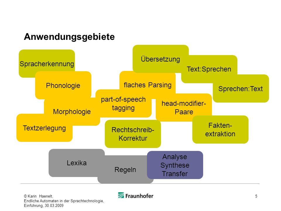 Anwendungsgebiete © Karin Haenelt, Endliche Automaten in der Sprachtechnologie, Einführung, 30.03.2009 5 flaches Parsing head-modifier- Paare Textzerl