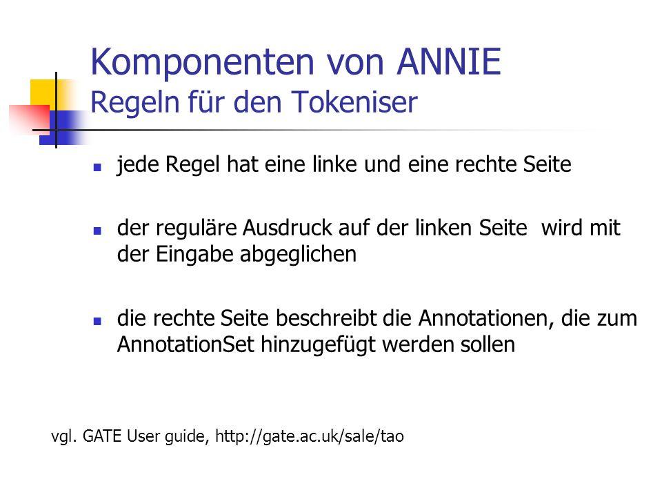 Komponenten von ANNIE Regeln für den Tokeniser jede Regel hat eine linke und eine rechte Seite der reguläre Ausdruck auf der linken Seite wird mit der Eingabe abgeglichen die rechte Seite beschreibt die Annotationen, die zum AnnotationSet hinzugefügt werden sollen vgl.