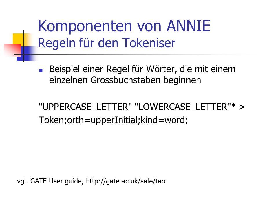 Komponenten von ANNIE Regeln für den Tokeniser Beispiel einer Regel für Wörter, die mit einem einzelnen Grossbuchstaben beginnen UPPERCASE_LETTER LOWERCASE_LETTER * > Token;orth=upperInitial;kind=word; vgl.