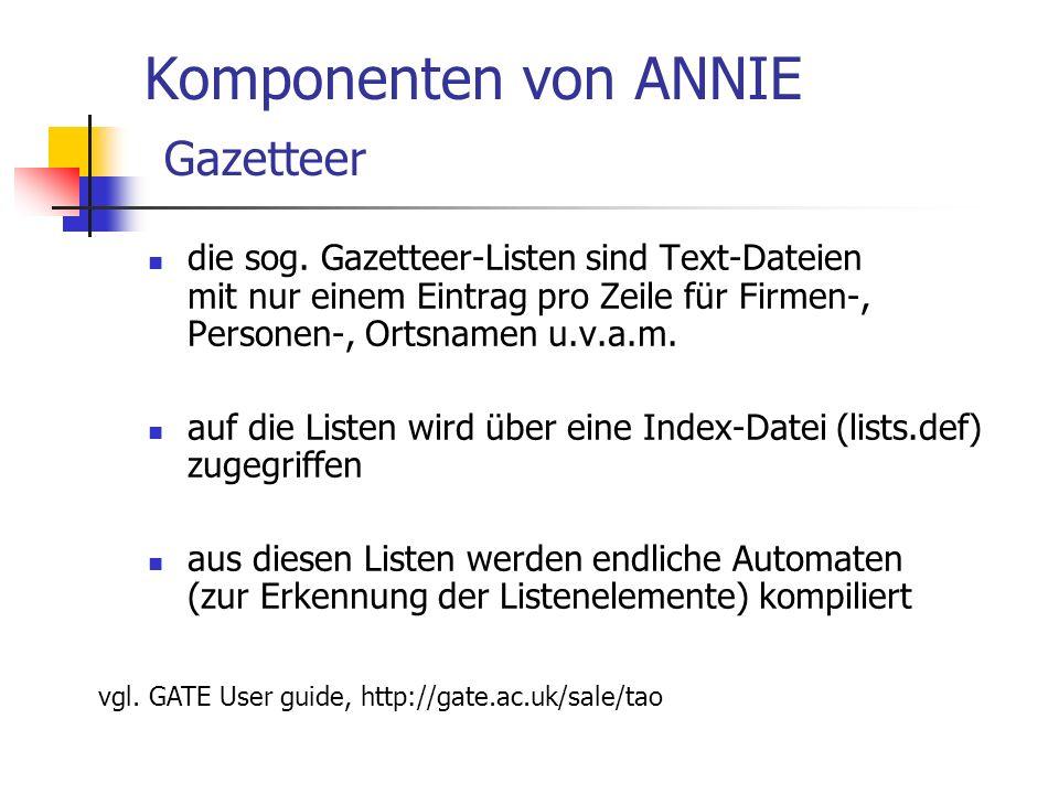 Komponenten von ANNIE Gazetteer die sog.