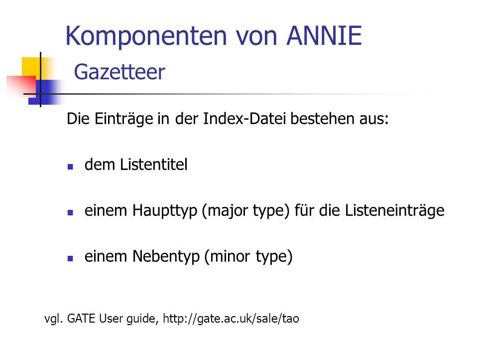 Komponenten von ANNIE Gazetteer Die Einträge in der Index-Datei bestehen aus: dem Listentitel einem Haupttyp (major type) für die Listeneinträge einem Nebentyp (minor type) vgl.