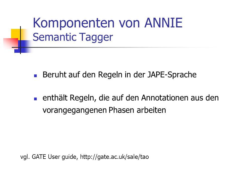 Komponenten von ANNIE Semantic Tagger Beruht auf den Regeln in der JAPE-Sprache enthält Regeln, die auf den Annotationen aus den vorangegangenen Phasen arbeiten vgl.
