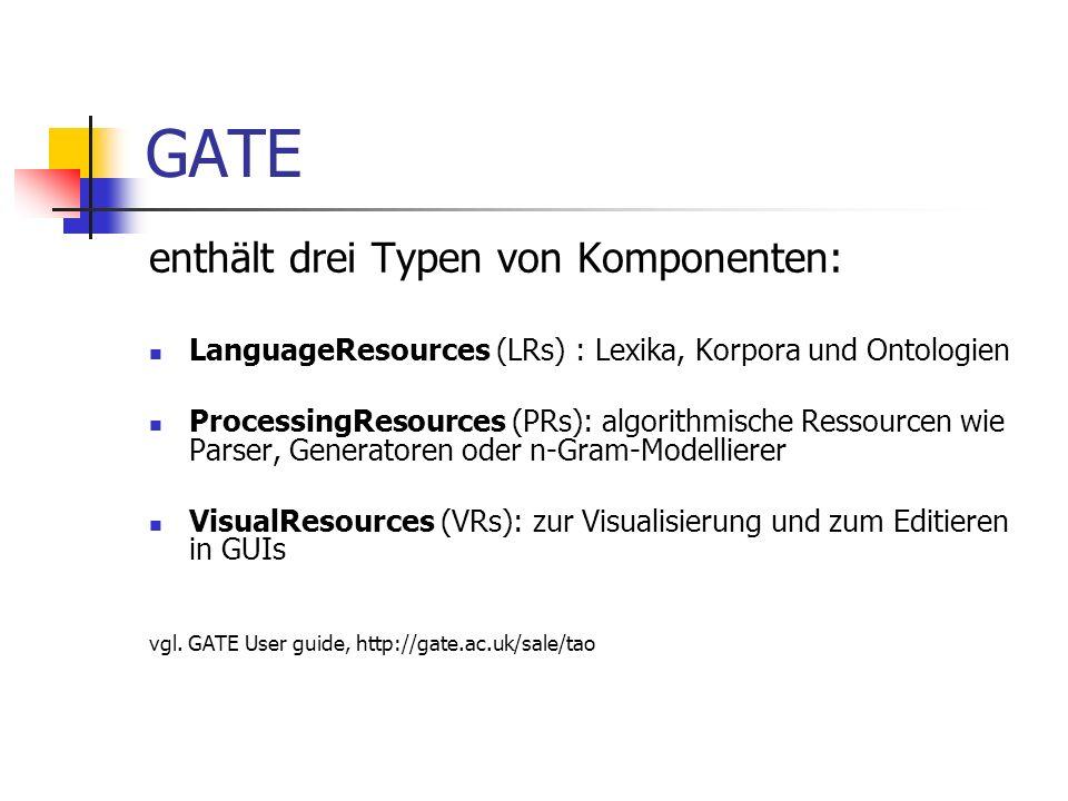Aufbau der Processing Resources in GATE Komponenten der Processing Resources können sein: JAVA-Klassen (Sentence) Listen (Gazetter) JAPE-Regeln (Semantik Tagger)