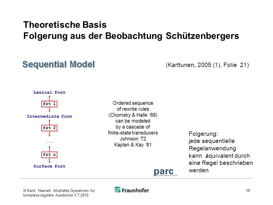 Theoretische Basis Folgerung aus der Beobachtung Schützenbergers 18 (Karttunen, 2005 (1), Folie 21) Folgerung: jede sequentielle Regelanwendung kann äquivalent durch eine Regel beschrieben werden © Karin Haenelt, Abstrakte Operatoren für komplexe reguläre Ausdrücke 5.7.2010