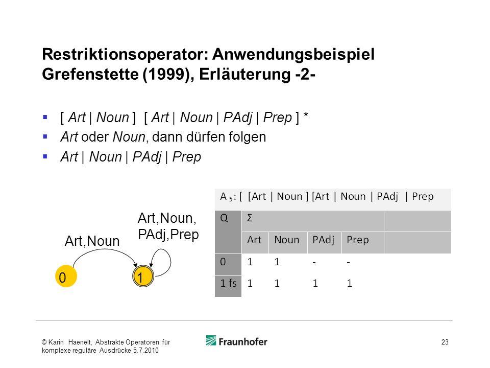 Restriktionsoperator: Anwendungsbeispiel Grefenstette (1999), Erläuterung -2- [ Art | Noun ] [ Art | Noun | PAdj | Prep ] * Art oder Noun, dann dürfen folgen Art | Noun | PAdj | Prep 23 01 Art,Noun Art,Noun, PAdj,Prep © Karin Haenelt, Abstrakte Operatoren für komplexe reguläre Ausdrücke 5.7.2010