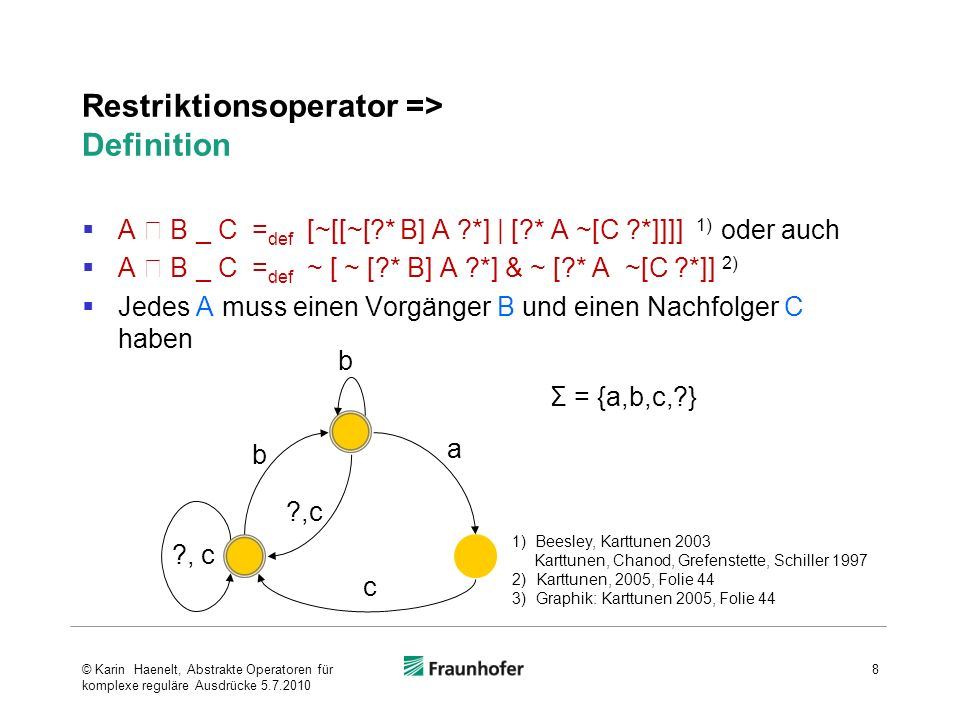 Restriktionsoperator kodiert auf kompakte Art eine nützliche Bedingung, die mit primitiveren Operatoren nur sehr umständlich auszudrücken ist kompakte Darstellung a b _ c äquivalente reguläre Ausdrücke (Definition): Version 1) ~ [ ~ [?* b] a ?*] & ~ [?* a ~[c ?*]] Version 2) [~[[~[?* b] a ?*] | [?* a ~[c ?*]]]] 9 1) Beesley, Karttunen 2003 Karttunen, Chanod, Grefenstette, Schiller 1997 2)Karttunen, 2005, Folie 44 ?, c b b a c Σ = {a,b,c,?} © Karin Haenelt, Abstrakte Operatoren für komplexe reguläre Ausdrücke 5.7.2010