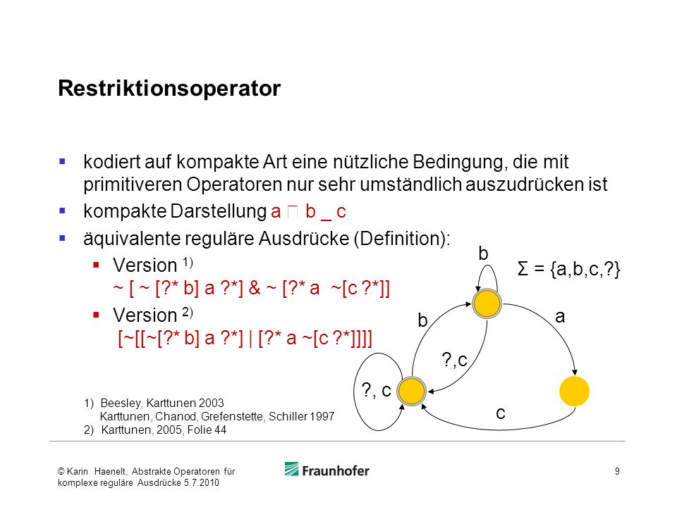 Restriktionsoperator kodiert auf kompakte Art eine nützliche Bedingung, die mit primitiveren Operatoren nur sehr umständlich auszudrücken ist kompakte Darstellung a b _ c äquivalente reguläre Ausdrücke (Definition): Version 1) ~ [ ~ [ * b] a *] & ~ [ * a ~[c *]] Version 2) [~[[~[ * b] a *] | [ * a ~[c *]]]] 9 1) Beesley, Karttunen 2003 Karttunen, Chanod, Grefenstette, Schiller 1997 2)Karttunen, 2005, Folie 44 , c b b a c Σ = {a,b,c, } © Karin Haenelt, Abstrakte Operatoren für komplexe reguläre Ausdrücke 5.7.2010
