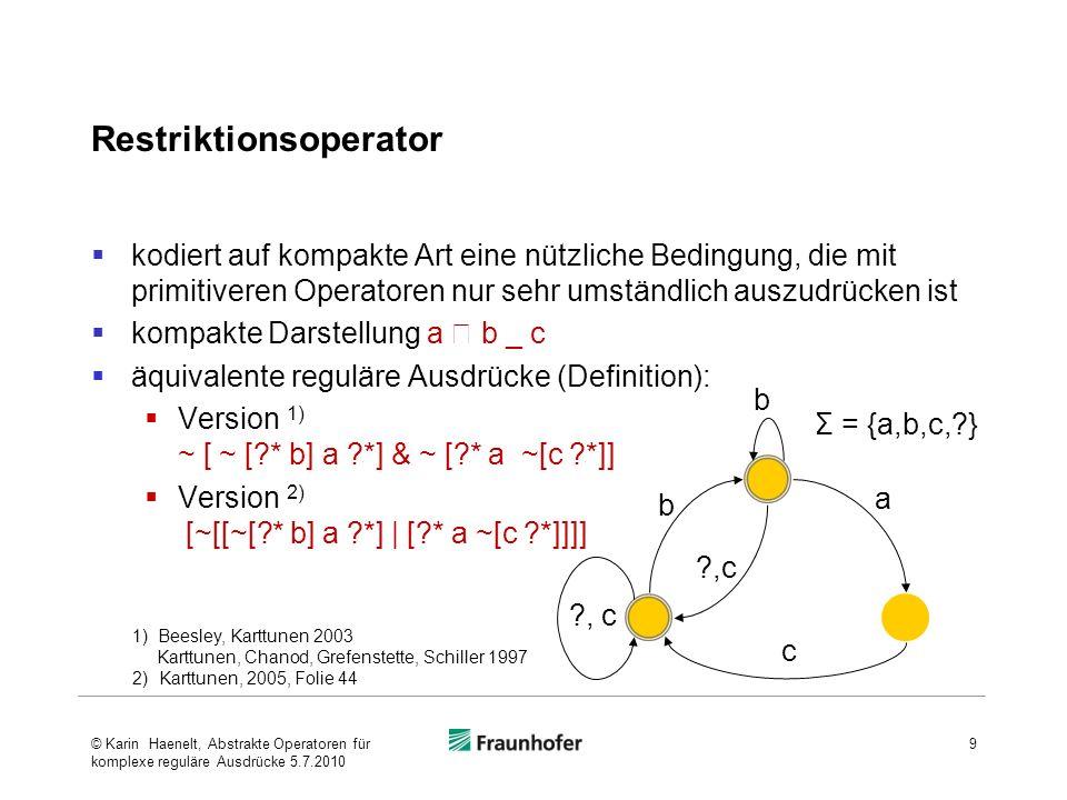 Literatur Karttunen, Lauri (2005).Finite-State Methods in Natural Language Processing.