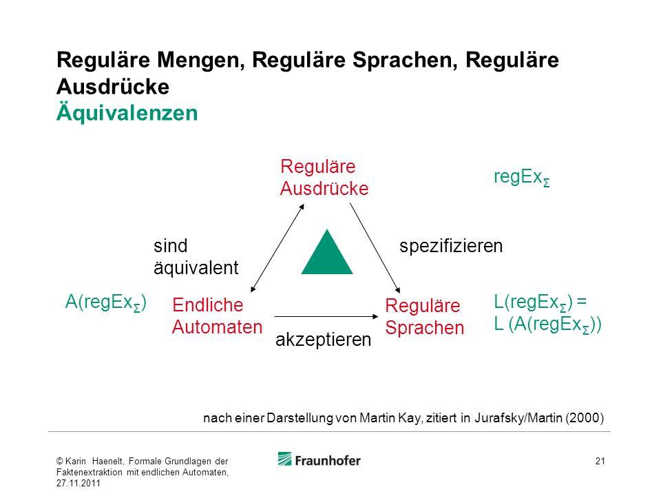 Reguläre Mengen, Reguläre Sprachen, Reguläre Ausdrücke Äquivalenzen 21 Endliche Automaten Reguläre Ausdrücke spezifizieren akzeptieren sind äquivalent