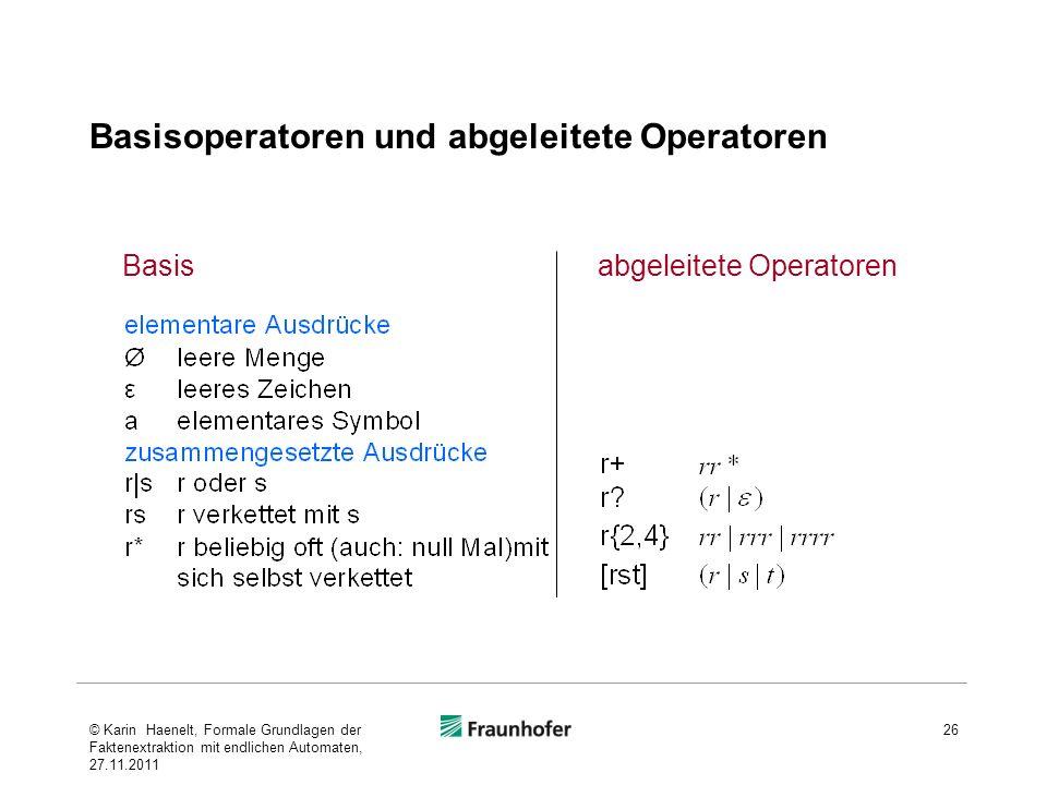 Basisoperatoren und abgeleitete Operatoren 26 abgeleitete OperatorenBasis © Karin Haenelt, Formale Grundlagen der Faktenextraktion mit endlichen Autom