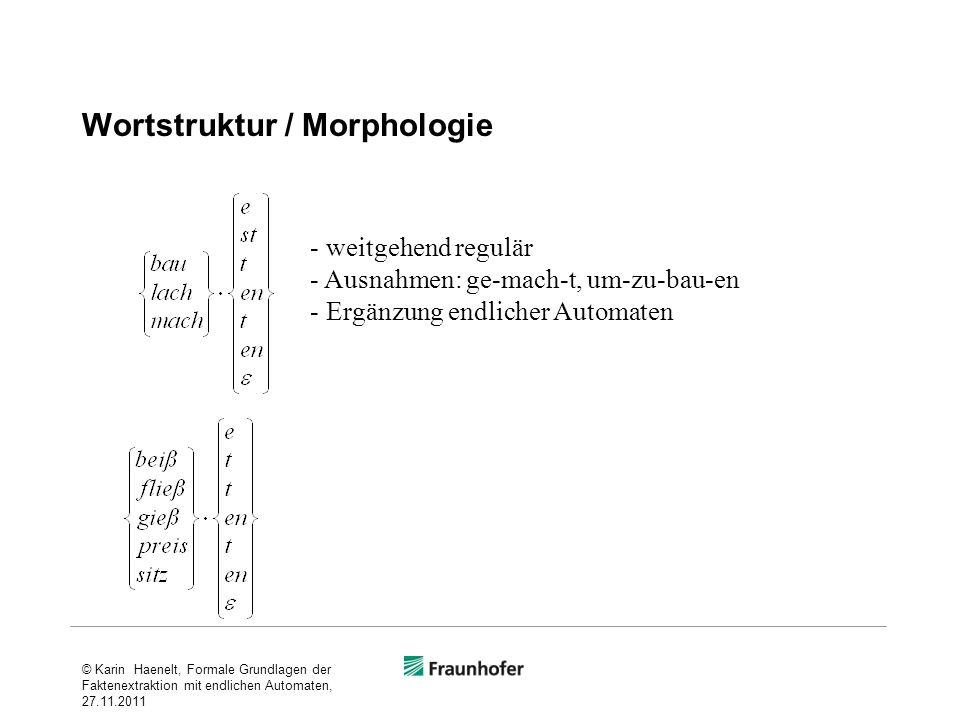 Wortstruktur / Morphologie - weitgehend regulär - Ausnahmen: ge-mach-t, um-zu-bau-en - Ergänzung endlicher Automaten © Karin Haenelt, Formale Grundlag