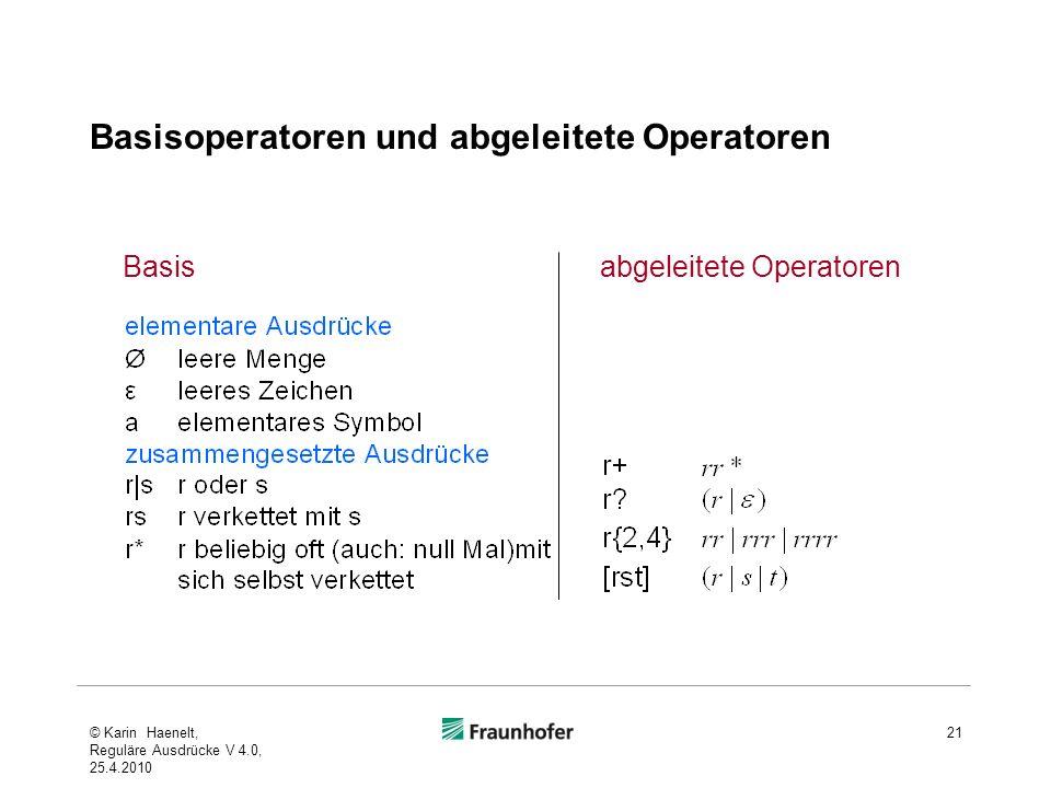 Basisoperatoren und abgeleitete Operatoren © Karin Haenelt, Reguläre Ausdrücke V 4.0, 25.4.2010 21 abgeleitete OperatorenBasis