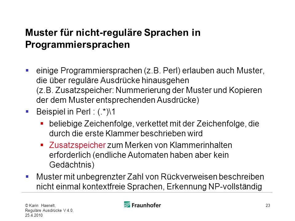 Muster für nicht-reguläre Sprachen in Programmiersprachen einige Programmiersprachen (z.B.