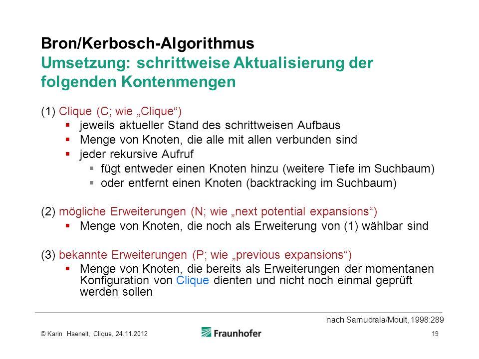 Bron/Kerbosch-Algorithmus Umsetzung: schrittweise Aktualisierung der folgenden Kontenmengen (1) Clique (C; wie Clique) jeweils aktueller Stand des sch