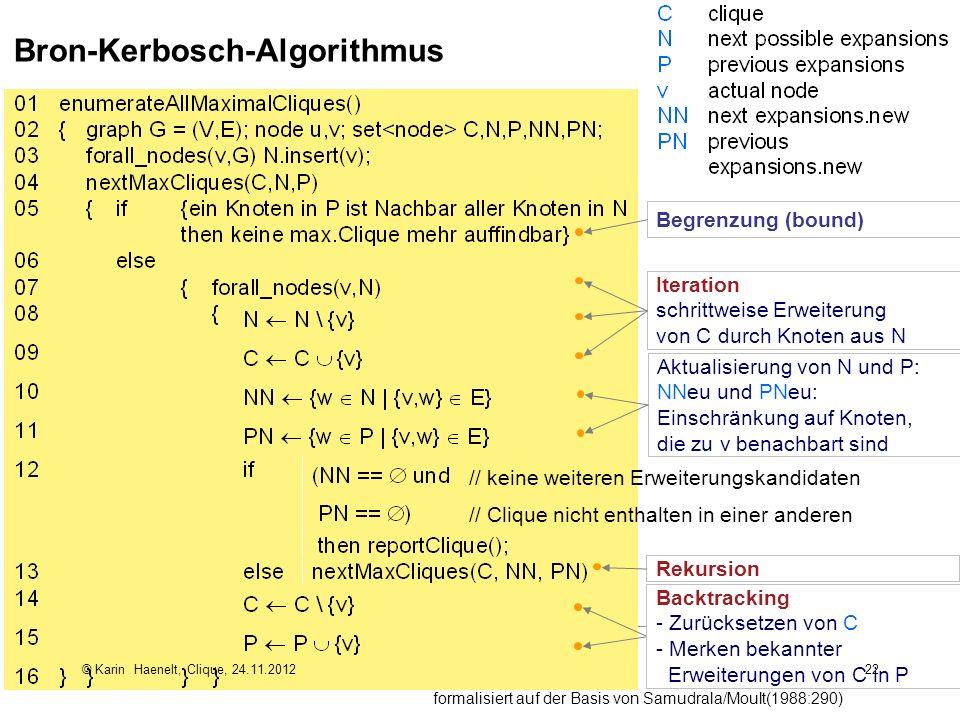 22 Bron-Kerbosch-Algorithmus formalisiert auf der Basis von Samudrala/Moult(1988:290) Iteration schrittweise Erweiterung von C durch Knoten aus N Aktu