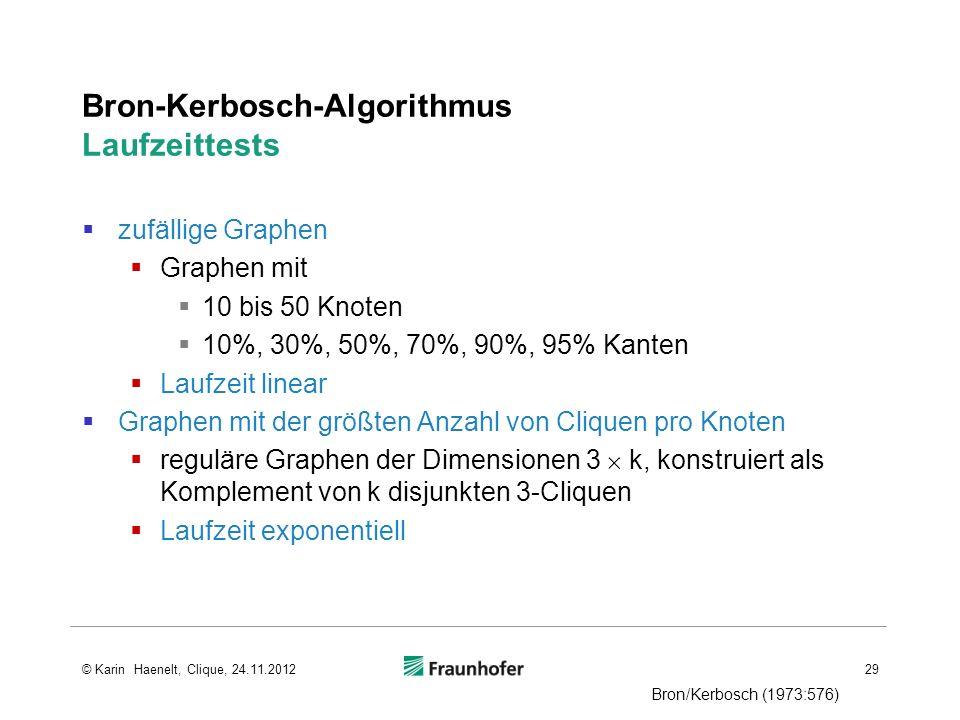 Bron-Kerbosch-Algorithmus Laufzeittests zufällige Graphen Graphen mit 10 bis 50 Knoten 10%, 30%, 50%, 70%, 90%, 95% Kanten Laufzeit linear Graphen mit