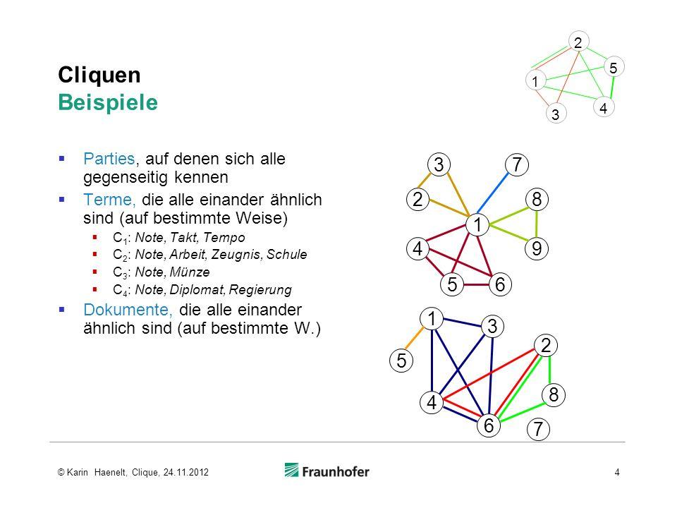 Bron-Kerbosch-Algorithmus 34555 23453455 5 12345 3 4 5 1 2 Tiefensuch-Traversionsbaum von G (ohne Permutationen von Pfaden) Graph G rekursive Backtracking- Prozedur branch-and- bound- Mechanismus 35© Karin Haenelt, Clique, 24.11.2012