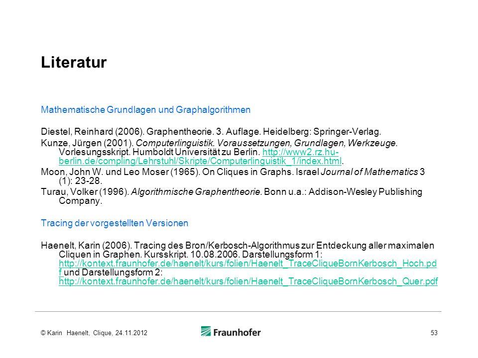 Literatur Mathematische Grundlagen und Graphalgorithmen Diestel, Reinhard (2006). Graphentheorie. 3. Auflage. Heidelberg: Springer-Verlag. Kunze, Jürg